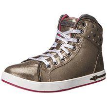 Skechers ShoutoutsZipsters, Mädchen Sneakers, Silber (Gun), 34 EU