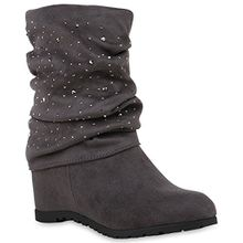 Damen Keilstiefeletten Strass Stiefeletten Schuhe 121384 Grau 41 Flandell