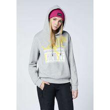 CHIEMSEE Sweatshirt mit Kapuze und großem Frontprint - GOTS zertifiziert hellgrau Damen