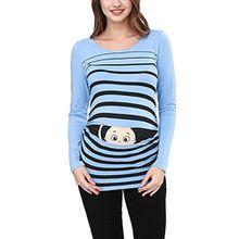 Peek a Boo - Lustiges Witziges Süßes Umstandsshirt mit Guck-Guck Motiv für Die Schwangerschaft/Umstandsmode/Schwangerschaftsshirt, Langarm (Large, Babyblau)