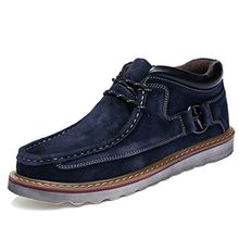 Herren Stiefel, Gracosy Desert Boot Schnürhalbschuhe Derby Schuhe Oxford Mokassins aus Veloursleder High-Top Lederschuhe Lace-Up Winter Herbst Blau 41