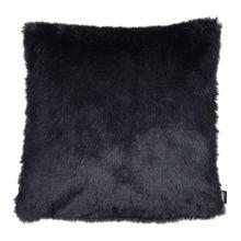 Kissenhülle Zierkissenbezug LUPO 40x40 cm schwarz in glänzendem Tierfellimitat