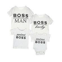 Puseky Familie Zusammenpassende Kleidung Boss Kurzarm T-Shirt für Eltern-Kind Vater Mutter und Baby Gr. Large, Damen,