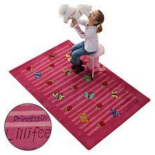 Kinderteppich Prinzessin Lillifee Schmetterlinge & Rosen dunkelrosa pink