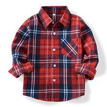 OCHENTA Hemden Jungen Langarm Plaid Kariert Freizeithemd E002 Klassische Rot Asiatisch 130cm-(De 124cm)
