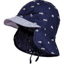 Schirmmütze mit Nackenschutz zum Binden  dunkelblau Jungen Baby