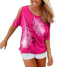 Kurzärmelig Bluse weg von der Schulter Short Sleeve Feder Druck Muster Jumper Tops Pullover T-Shirt Sommer Frauen Damen