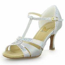 Jia Jia 20519 Damen Sandalen Ausgestelltes Heel Super-Satin Latein Tanzschuhe Silber , 34