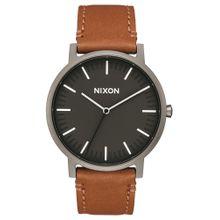 Nixon Armbanduhr 'Porter Leather' (Gehäusedurchmesser: 40mm) braun / anthrazit / schwarz