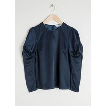 Satin Puff Sleeve Top - Blue