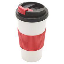 500ml Isolierbecher Thermobecher, auslaufsicher, mit Schraube auf Deckel und einfachen Griff Kaffee Tee Tasse trinken Warm Travel rot