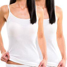 HERMKO Doppelpack 61560 Damen Funktions Trägerhemd Top schnelltrocknend und atmungsaktiv, Farbe:weiß, Größe:40/42 (M)