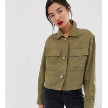 Mango – Kurze Hemdjacke mit Taschen vorn-Grün