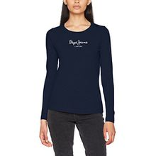 Pepe Jeans Damen T-Shirt New Virginia LS, Blau (Navy), X-Small