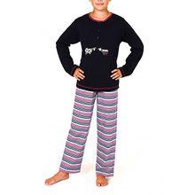 Mädchen Pyjama langarm - Kuschel Interlock - 251 401 96 900, Farbe:marine;Größe:164
