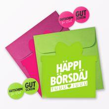 """TYPOP 2-teiliges Set Geburtstagskarten \Häppi Börsdäj\"""" in Geschenkform inkl. 2 Umschläge + 4 Sticker"""""""
