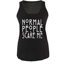 Comedy Shirts - Normal People Scare Me - Damen Tank Top - Schwarz / Weiss Gr. M