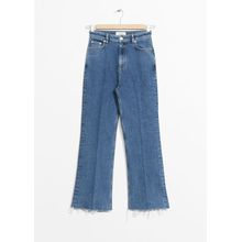 Cropped Mid Rise Flared Jeans - Blue