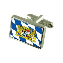 Bayern Zivil Landesflagge Manschettenknöpfe mit Tasche Geschenke auswählen