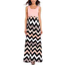 ISASSY Damen Sommer Maxikleid Lange Strandkleid hohe Taille Ärmellos Partykleid mit Wellen Muster Streifen