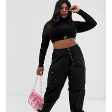 COLLUSION Plus – Hose aus Nylon mit Taschen-Schwarz