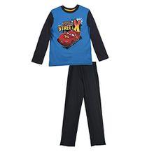 Disney Cars Lightning McQueen (2061) Kinder Pyjama aus Baumwolle, Schlafanzug Set mit langarm Shirt und langer Hose, blau anthrazit, Größe: 98