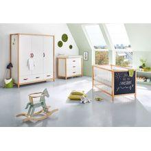 Pinolino Komplett Kinderzimmer Calimero, breit und groß, 3-tlg. (Kinderbett 70 x 140 cm, breite Wickelkommode und Kleiderschrank 3-türig), weiß lackiert, Buche mit Tafellack