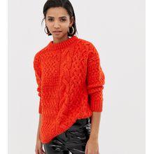 Mango - Oversized-Pullover in Orange mit Zopfmuster - Orange