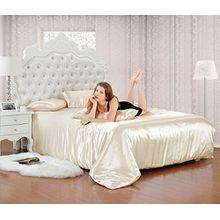 6 tlg. Miro Satin Bettwäsche 230x220 Creme + 4x Kissenbezüge + Spannbettlaken Creme