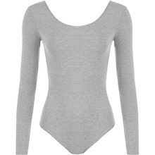 WearAll - Damen body elastisch langarm Bodysuit Top - Grau - 36-38