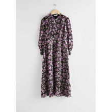 Printed Ruffle Bib Midi Dress - Purple
