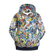 Ecollection® Damen Unisex 3 Digital Print Fashion Hoodies Sweatshirts Tops (S /M, 1)