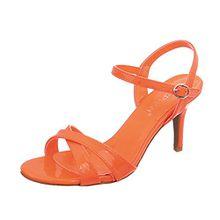 Ital-Design High Heel Sandaletten Damen-Schuhe Pfennig-/Stilettoabsatz Heels Schnalle Sandalen Orange, Gr 37, Ab-92-