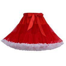 Tütü Damen Tüllrock Mädchen Tutu Rock Petticoat Unterrock Ballett Kostüm Tüll Röcke überlagerte Rüsche Festliche Tütüs Erwachsene Pettiskirt Ballerina Für Dirndl Mini Rock Layered Rot Weiß
