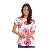 VIA MILANO Shirt, 1/2-Arm Materialmix Rücken in Jersey Blüten