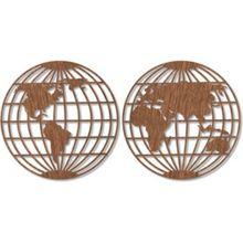 Holzkunst Mahagoni - Weltkarte - Globus (2-teilig) braun
