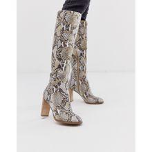 ASOS DESIGN - Clover - Kniehohe Stiefel aus hochwertigem Leder mit Schlangenmuster - Mehrfarbig