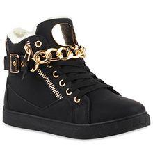 Warm Gefütterte Damen Sneakers High Ketten Winter Schuhe 110065 Schwarz 36 Flandell