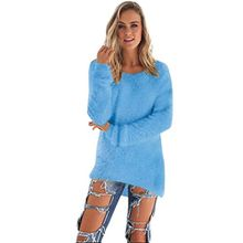 Damen Langarm Pullover,Moonuy Frauen Mädchen Casual Warme Pullover Damen Polyester Spandex Fleece Sweatshirt Jumper Pullover Herbst / Winter Lose Bluse (Blau, M)