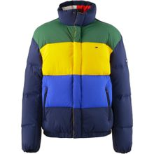 Tommy Jeans Daunenjacke blau / navy / gelb / grün