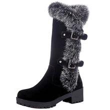AIYOUMEI Damen Halbschaft Stiefel mit Fell und Schnalle Bequem Modern Winter Warm Mid Calf Boots