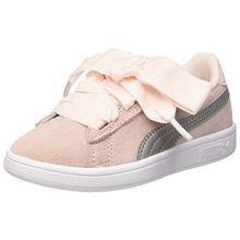 Puma Unisex-Kinder Smash v2 Ribbon AC PS Sneaker, Pink (Pearl Silver), 34 EU