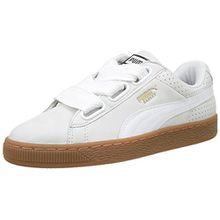Puma Damen Basket Heart Perf Gum Sneaker, Weiß White-Gold, 40.5 EU