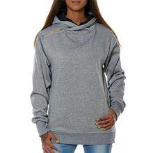Damen Kapuzenpullover Sweatshirt Hoodie (weitere Farben) No 15713, Farbe:Grau, Größe:XXL / 44