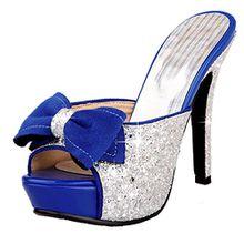 AIYOUMEI Damen Glitzer Peep Toe High Heels Plateau Pantoletten mit Schleife Bequem Modern Pailletten Sandalen