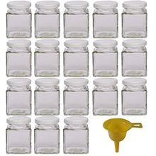 Viva Haushaltswaren 18 x kleines Marmeladenglas/Gewürzglas 106 ml mit weißem Schraubverschluss, Gläser Set mit Deckel als Einmachgläser, Gewürzdose etc. verwendbar (inkl. Trichter)
