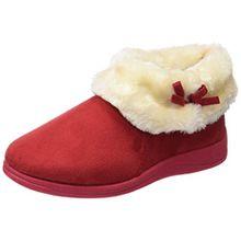 Womens Dunlop Bessie Kunstpelz Kragen Ankle Hausschuhe Stiefel - Winter Rot, EU 38