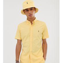 Polo Ralph Lauren - Kurzärmliges, stückgefärbtes Oxfordhemd in Gelb mit Polospieler-Logo und in schlanker Passform - EXKLUSIV NUR BEI ASOS - Gelb