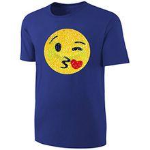 Kinder T-Shirt Wende Pailletten Smily Streichel Shirt Blau Größe 164