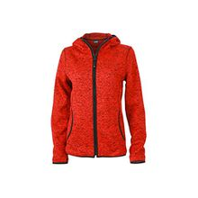 James & Nicholson Damen Sweatshirt Fleece Ladies'Knitted Hoody rot (Red-Melange/Black) X-Large